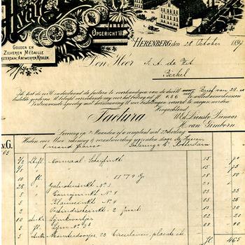Factuur 'Factura aan de heer F.A. de Hit Berkel' van H. van Gimborn, papier, 's- Heerenberg, 28 oktober 1897