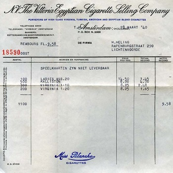 Factuur 'N.V. The Vittoria Egyptian Cigarette Selling Compagny' papier 28 maart 1940
