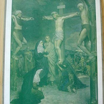 Schoolplaat 'Calvarieberg' papier op karton, Frank Adams, uitgever Thomas Nelson and Sons, circa 1900-1910