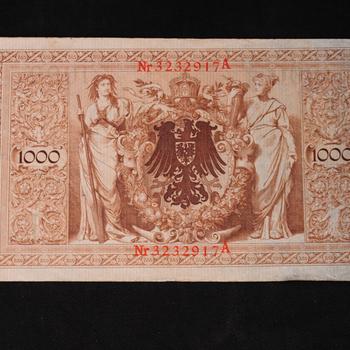 Bankbiljetten 2 stuks van 1000 mark van papier afkomstig uit Duitsland 1902
