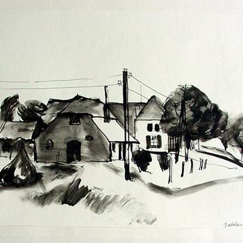 Tekening op papier met Oostindische inkt voorstellende het dorpje Babberich door Ad Dekkers circa 1955