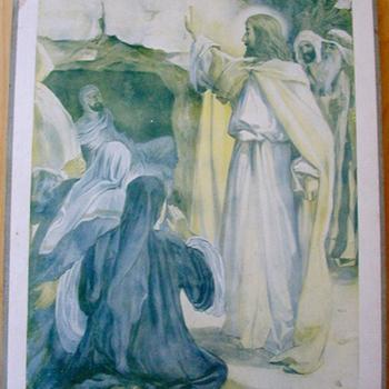 Schoolplaat 'La Résurrection de Lazare' papier op karton, W.C. Griève, uitgever Thomas Nelson and Sons, circa 1900-1910