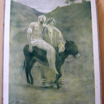 Schoolplaat 'Le bon Samaritain' papier op karton, W.C. Griève, uitgever Thomas Nelson and Sons circa 1900-1910