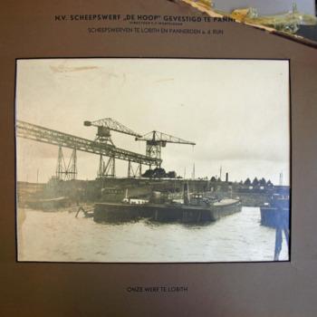 Zwart-wit foto van scheepswerf De Hoop te Lobith in 1920