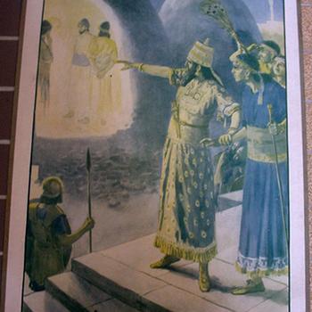 Schoolplaat 'La Fournaise Ardente Et Les Trois Jeunes Gens' papier op karton, uitgever Thomas Nelson and Sons circa 1900-1910