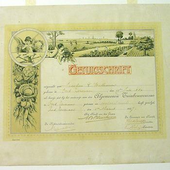 Diploma 'Getuigschrift van Jac. E. Willemsen 1927' van papier