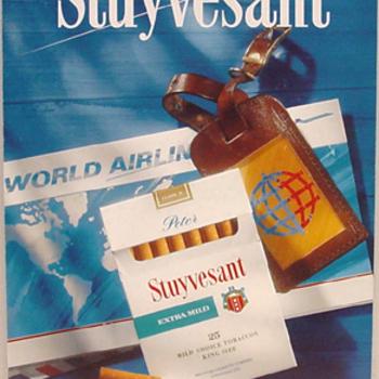 Reclamebord van karton voor het merk Peter Stuyvesant extra- ultra mild sigaretten ca. 1969-2003