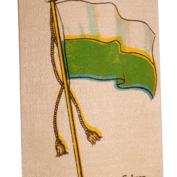 Zijdje de vlag van de vlag van Saksen textiel,  uitgegeven door Turmac Tobacco Company,  Zevenaar, 1930