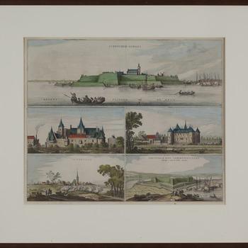 Gravure voorstellende Het Tolhuis, 't Huis te Hal, Griethuisen, Schenckenschans en schans Amelia papier Loan Blaeu 1647