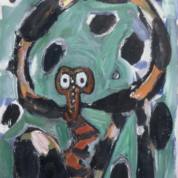 Compositie met groen en figuratief figuur