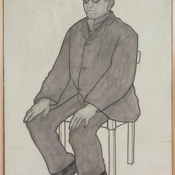 Portret ten voeten uit van een psychiatrische patiënt van de Willem Arntz Stichting in Utrecht, Man