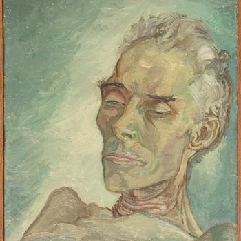 Dodenportret: dode man IX met luikend oog