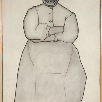Portret ten voeten uit van een psychiatrische patiënt van de Willem Arntz Stichting in Utrecht, Grijnzende vrouw
