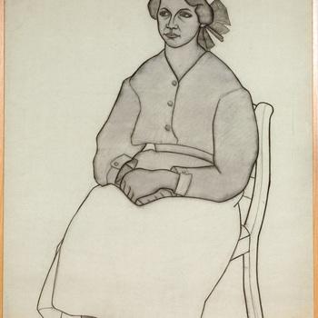 Portret ten voeten uit van een psychiatrische patiënt van de Willem Arntz Stichting in Utrecht, Meisje met haarstrik