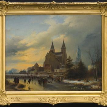 Gezicht op de Walburgiskerk en de Eusebiuskerk of Grote kerk te Arnhem