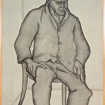 Portret ten voeten uit van een psychiatrische patiënt van de Willem Arntz Stichting in Utrecht, Man met pet