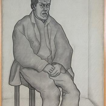 Man op stoel, naar links gedraaid