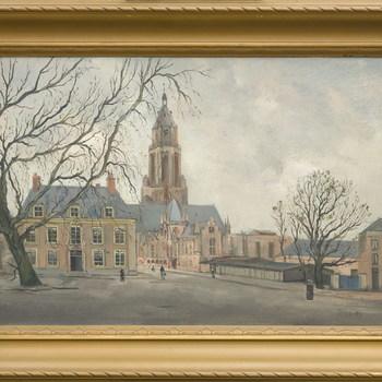 Het Walburgisplein te Arnhem, met zicht op de Eusebiuskerk