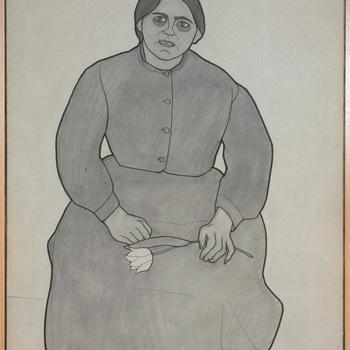 Portret ten voeten uit van een psychiatrische patiënt van de Willem Arntz Stichting in Utrecht, Meisje met tulp