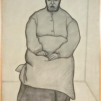 Portret ten voeten uit van een psychiatrische patiënt van de Willem Arntz Stichting in Utrecht, Vrouw