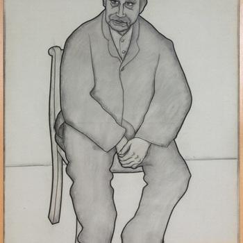 Portret ten voeten uit van een psychiatrische patiënt van de Willem Arntz Stichting in Utrecht, Man en face