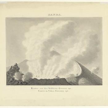 Banda eiland - de vulkaan Goenoeng Api. 1817