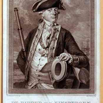 Diepdruk op papier met voorstelling van portret admiraal van Kinsbergen, vervaardigd door H. Pothoven, 1781