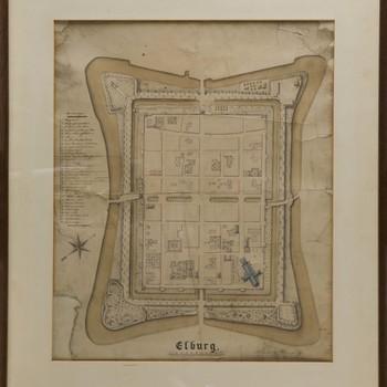 Tekening, voorstellende plattegrond van Elburg, 1842