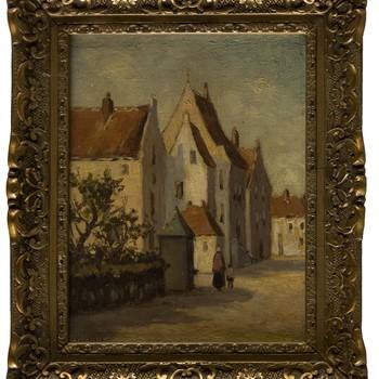 """Olieverfschilderij met voorstelling van """"Agnietenconvent te Elburg"""", vervaardiger B. van Wely"""