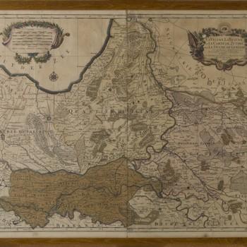Gravure, voorstellende een topografische kaart van de Veluwe, de Betuwe en de Graafschap Zutphen en Hertogdom Gelre, vervaardigd door S. Samson, Paris, 1692