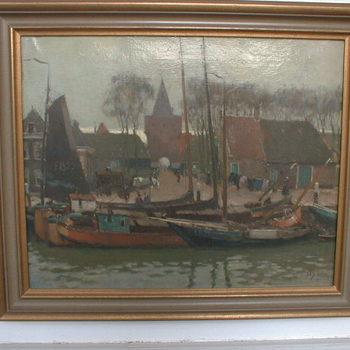 """Olieverfschildering """"Gezicht op haven en Vischpoort te Elburg"""" vervaardigd door A. P. Schotel, 20ste eeuw"""
