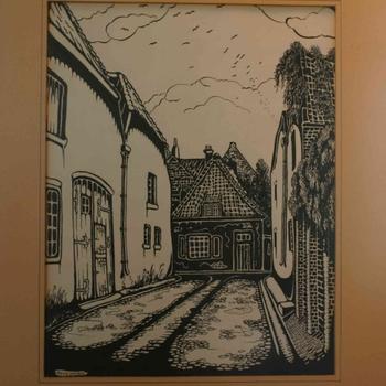 Houtsnede op papier, met voorstelling van een straatje te Elburg, vervaardiger Kees Jansen, 1942