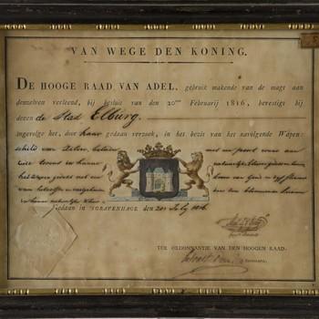 oorkonde, uitgegeven door De Hooge Raad van Adel, waarin het stadswapen van Elburg verleend wordt, 1816