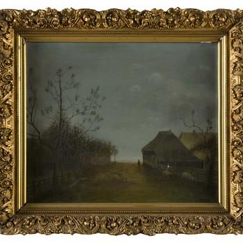 """Olieverfschilderij op doek, met voorstelling van """"Boerderij met schapen"""", gesig. H. van Boecop"""