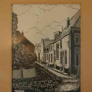 Tekening, voorstellende een straatje in Elburg, vervaardigd door Kees Jansen