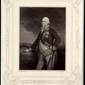 Diepdruk op papier met voorstelling van admiraal van Kinsbergen in vol ornaat, op oudere leeftijd, vervaardigd door C.H. Hodges