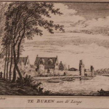 Gravure voorstellende TE BUREN aan de Linge, vervaardigd door Abraham Redemaker, 1719