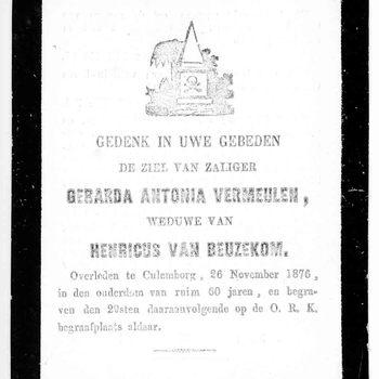 bidprent voor Gerarda Antonia Vermeulen. Geboren 1816. Overleden 26-11-1876 te Culemborg
