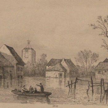 Gravure voorstellende Watersnood te Beesd in 1855, vervaardigd door W. Gruyter, 1855-1860