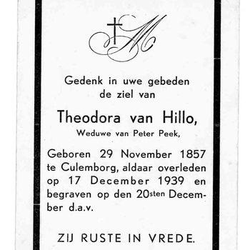 bidprent voor Theodora van Hillo. Geboren 29-11-1857 te Culemborg. Overleden 17-12-1939 te Culemborg