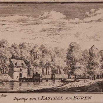 Gravure voorstellende Ingang van 't Kasteel van Buren, vervaardigd door Abraham Rademaker, 1719