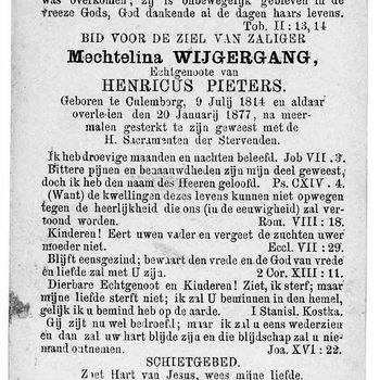 bidprent voor Mechtelina Wijgergang. Geboren 09-07-1814 te Culemborg. Overleden 20-01-1877 te Culemborg
