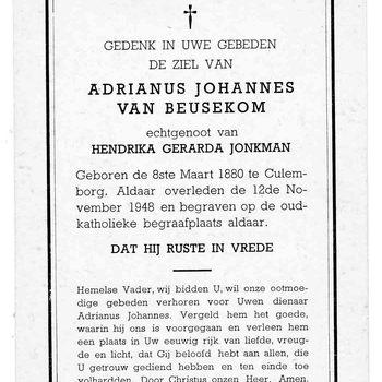 bidprent voor Adrianus Johannes van Beusekom. Geboren 08-03-1880 te Culemborg. Overleden 12-11-1948 te Culemborg