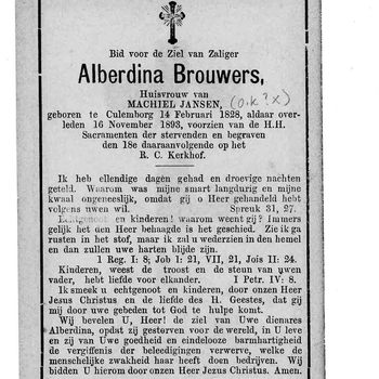bidprent voor Alberdina Brouwers. Geboren 14-02-1828 te Culemborg. Overleden 16-11-1893 te Culemborg