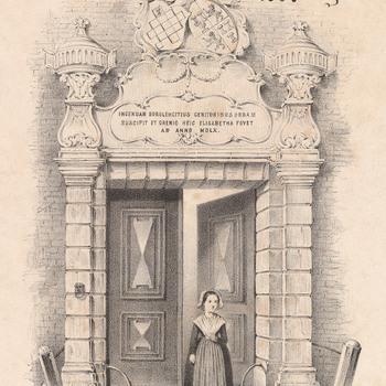 litho voorstellende een weesmeisje voor de poort van het Elisabeth Weeshuis, getekend door Van Erp Taalman Kip en gedrukt door P. v.d. Weyer in 1860