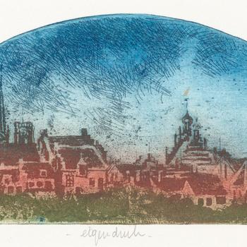 Ets in kleuren, voorsteld een stadsprofiel van Culemborg, vervaardigd door Ton Diekstra uit Everdingen, ca. 1990