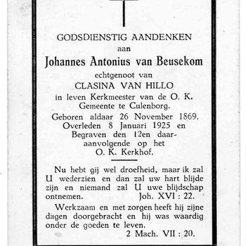 bidprent voor Johannes Antonius van Beusekom. Geboren 26-11-1869 te Culemborg. Overleden 08-01-1925 te Culemborg