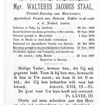 bidprent voor Walterus Jacobus Staal. Geboren 29-10-1839 te Velp. Overleden 30-06-1897 nabij Banda