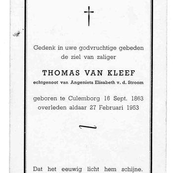 bidprent voor Thomas van Kleef. Geboren 16-09-1863 te Culemborg. Overleden 27-02-1953 te Culemborg