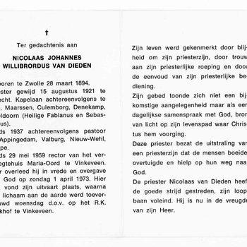 bidprent voor Nicolaas Johannes Willibrordus van Dieden. Geboren 28-03-1894 te Zwolle. Overleden 01-04-1973 te Vinkeveen